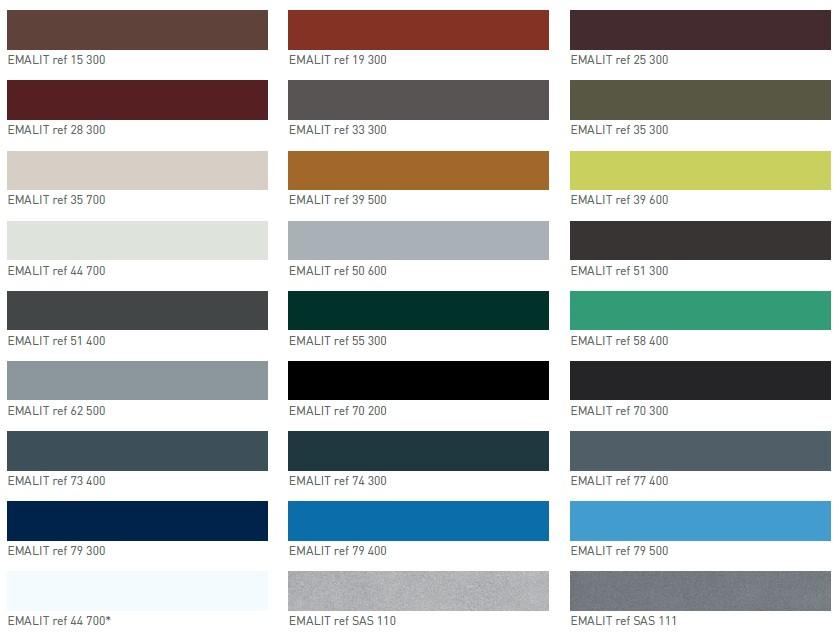 Les couleurs Emalit evolution